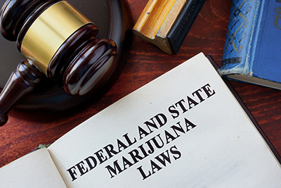federal and state marijuana laws graphic and judge gavel