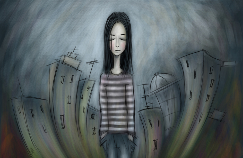 Chalk drawing of depressed teen