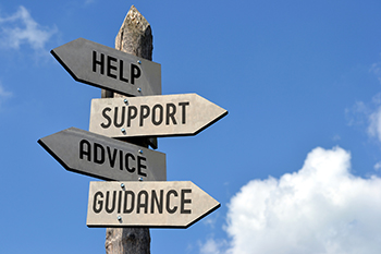 help support advice guidance signs