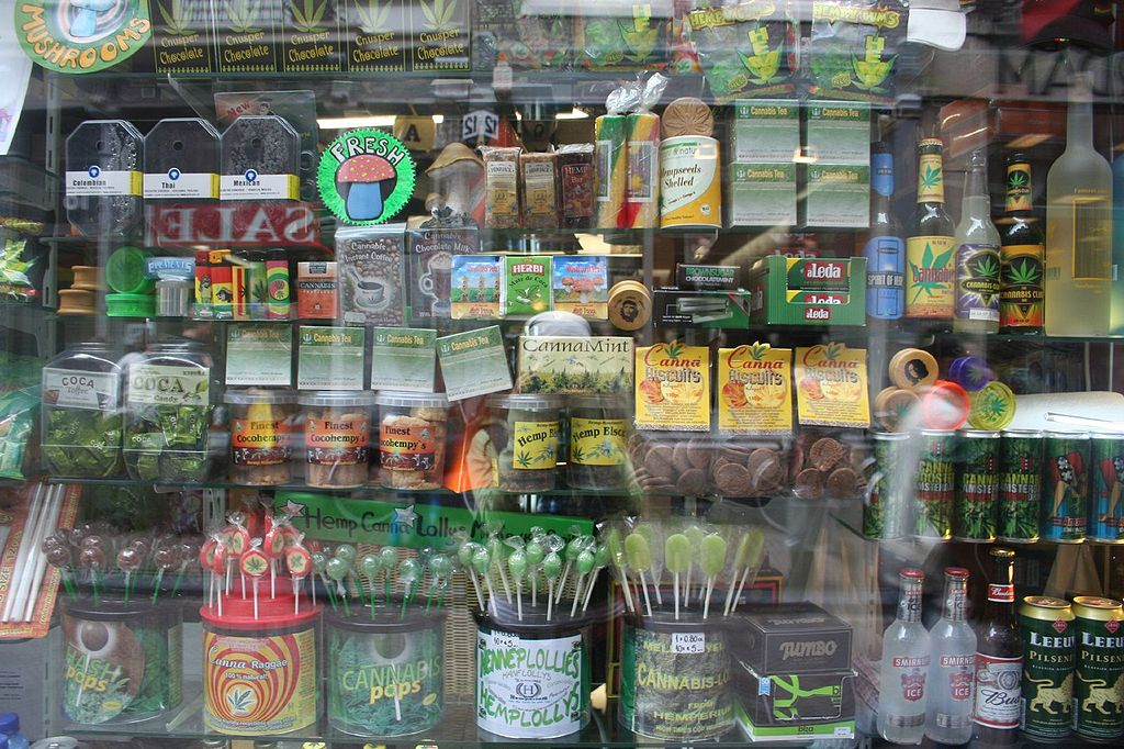 Shop window with cannabis products