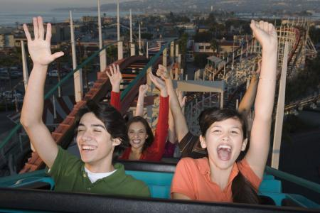 teens on rollercoaster