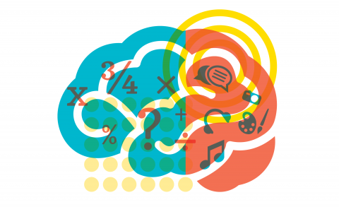Colorful brain cartoon in blue and orange with various pictures of math, music, speech bubbles in brain