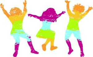 kids dancing silohouette