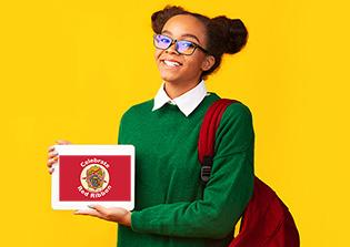 teen girl holding tablet with Red Ribbon Celebration written on it