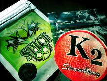 "photo of packages of ""Spice"" and ""K2"""