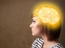 "teen girl with graphic of her ""brain' illuminated"